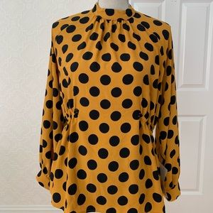 *NWT* ZARA Dark Mustard Yellow Polka Dot Blouse